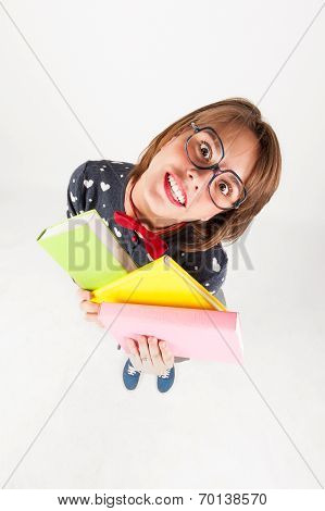 Cute Nerdy Girl Holding Books.