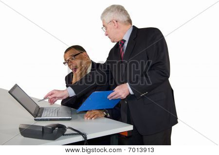 a businessman being instructed by senior manager