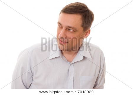 Man Holding His Thumb Up On White Background
