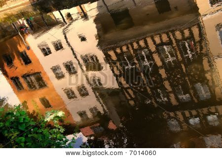 Reflection of medieval buildings