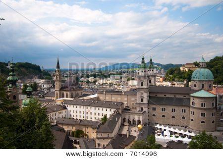 Salzburg monastery and cityscape