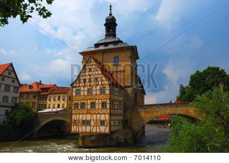 Town hall on the bridge Bamberg Bavaria