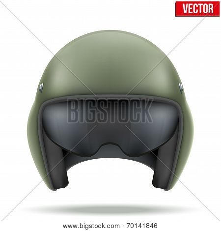 Military flight helicopter helmet. Vector.