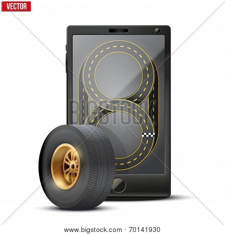 Smartphone with racing wheel and track on the screen.