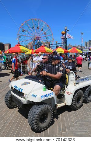 NYPD officers providing security at Coney Island Boardwalk in Brooklyn