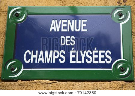 Avenue des Champs Elysees street sign in Paris, France. One of the most famous streets in the world.