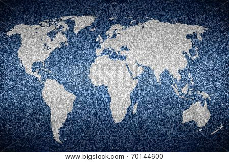 Closeup Screen Earth Map Concept On Pvc Leather For Background