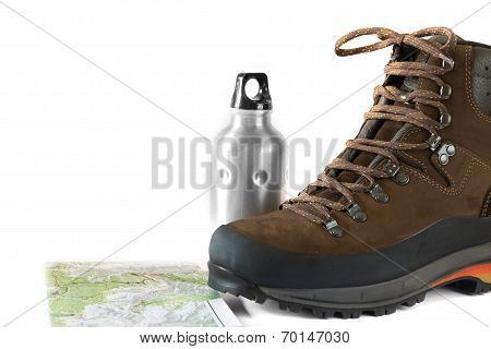 Hiking Boot With A Water Bottle And A Topographic Map