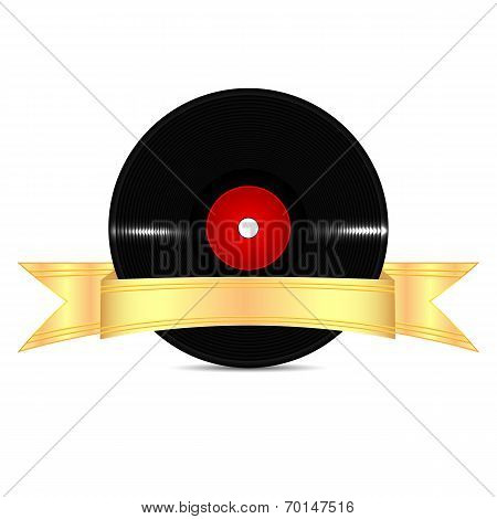 Musical Vinyl Record With A Gold Ribbon Isolated On White Background