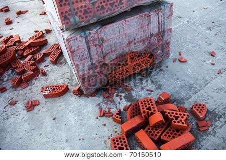 Stack Of Silicate Bricks With The Piles Of Beaten Bricks