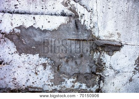 Grey Concrete Surface With The Split Stuck Up With Cement Mortar