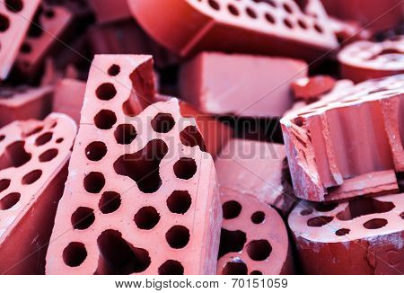 Pile Of New But Beaten Silicate Bricks