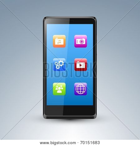 Illustration of a smarthone with edtiable screen and app icons