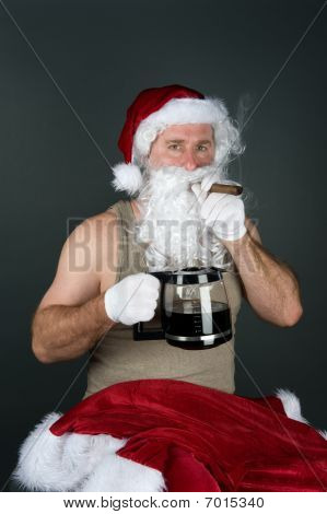 Santa Claus Smoking A Cigar And Drinking Coffee