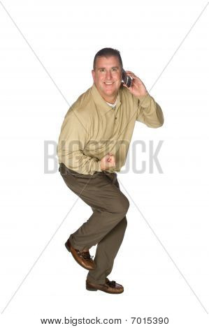 Man Excited On Cell Phone