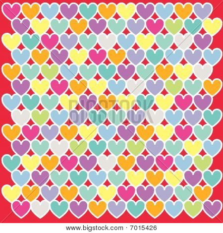 Illustration of colours heart pattern