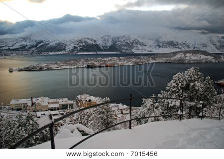 The city Aalesund in Norway covered with snow.