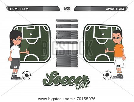 soccer formation theme cartoon character