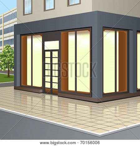 Building With Storefronts And Entrance