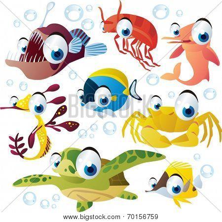 Sea animal set: fish, turtle, dolphin, crab, angler