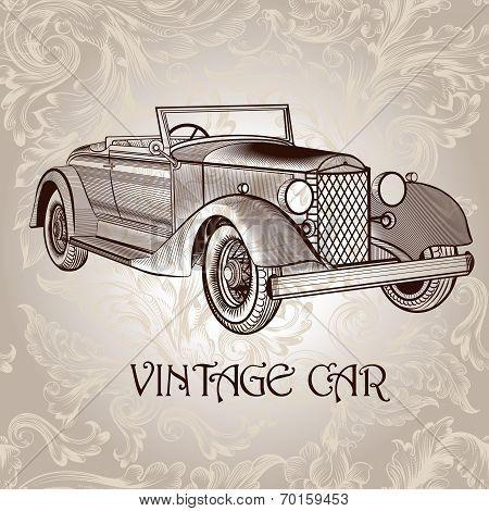 Vintage Vector Card With Retro Car