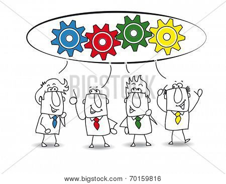 cooperation. This teamwork is very productive. Each of the businessmen have an idea for resolve the problem. each colored gear represents the idea of each businessman (similar color)