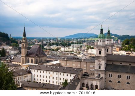 Salzburg town center and alps panoramic view
