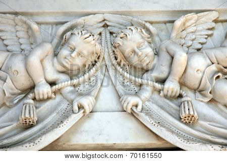 ZAGREB, CROATIA - APRIL 29: Angels, detail of a mourning sculpture on a Mirogoj cemetery in Zagreb, Croatia on April 29, 2012.