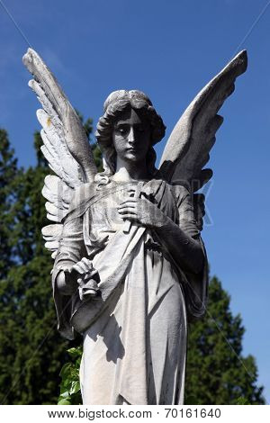 ZAGREB, CROATIA - APRIL 29: Angel, detail of a mourning sculpture on a Mirogoj cemetery in Zagreb, Croatia on April 29, 2012.