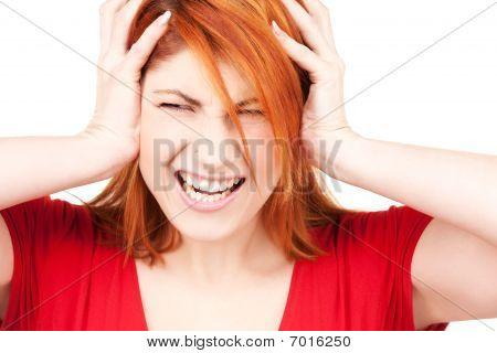 Unhappy Redhead Woman