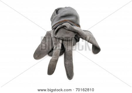 gray work gloves isolated