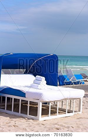 Spa bed on the ocean beach.