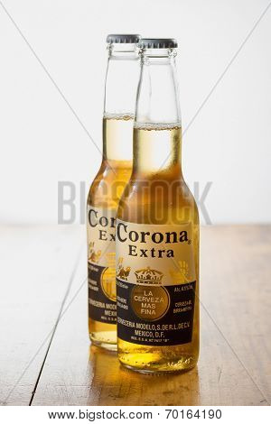 Sarajevo, Bosnia and Herzegovina - August 16, 2014:  Corona Extra Beer. Brewed by Cerveceria Modelo, Mexico.