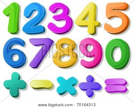 Illustration of multicolored number