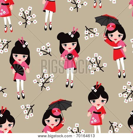 Seamless cherry blossom geisha girls kids illustration background pattern in vector