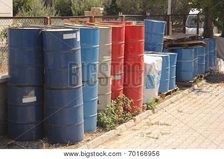 Old toxic 50 gallon drums