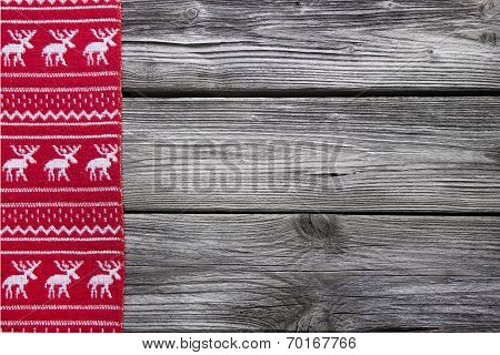 Wooden Background With A Red Frame Of Reindeer For Christmas Decoration.