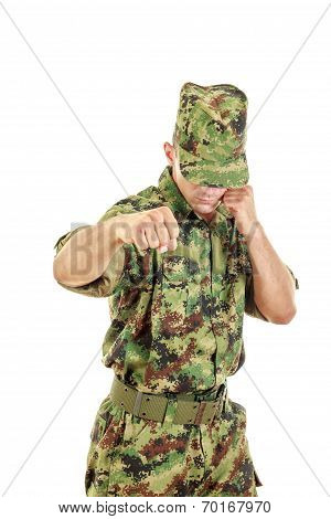 Army Soldier Fighter Hitting With Fist