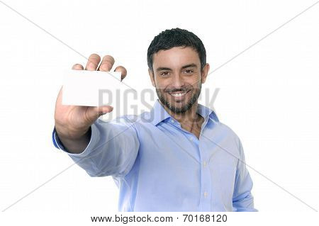 Happy Young Attractive Businessman Holding Blank Business Card With Copy Space