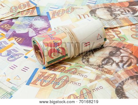 Israeli shekel notes background
