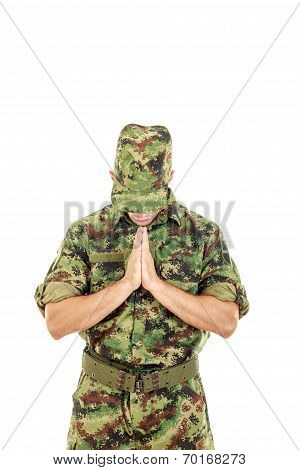 Marine Soldier Officer Praying In Military Uniform