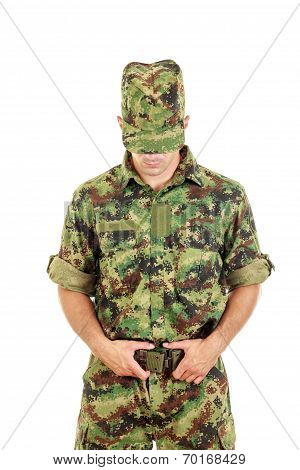 Military Soldier In Camouflage Uniform And Hat Fastened Belt