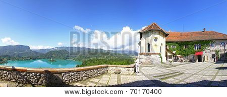 Panoramic View Of Bled Castle Above The Lake Bled, Slovenia