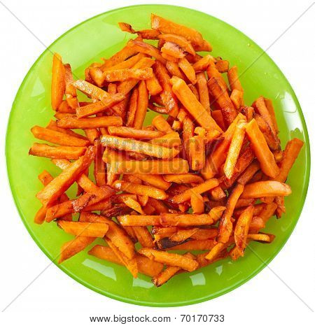 Fried Sweet Potatoes in plate top view surface  isolated on white background