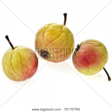 sluggish apples fruit isolated on white background
