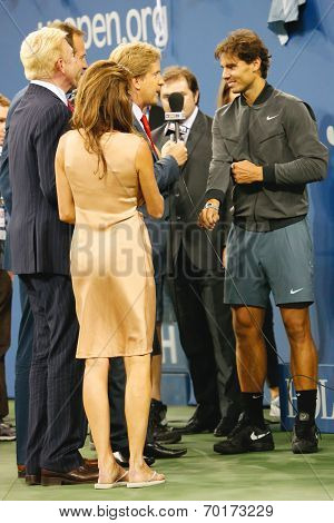 Thirteen times Grand Slam champion Rafael Nadal giving interview after he won US Open 2013