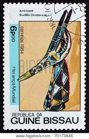 Postage Stamp Guinea-bissau 1984 Antelope, Wood Sculpture
