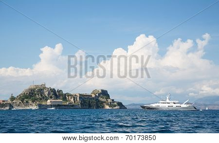 Luxury Large Super Or Mega Motor Yacht On Anchor In Corfu - Greece.