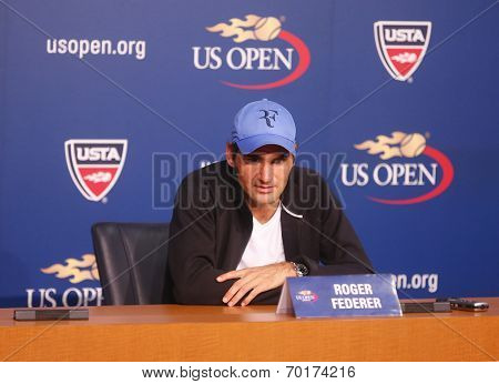 Seventeen times Grand Slam champion Roger Federer during press conference at Billie Jean King Nation