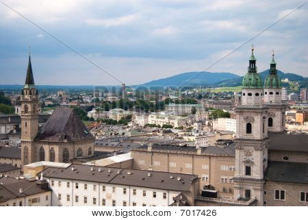 Salzburg church and Alps panoramic view
